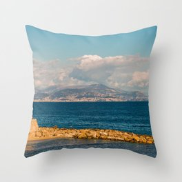 Seacoast of Antibes in a sunny winter day Throw Pillow