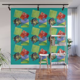 Painted Squares Jiggle - Green Wall Mural
