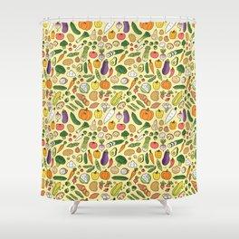 Veggie Friends Doodle Shower Curtain