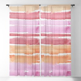 Summer stripes in pink and orange Sheer Curtain