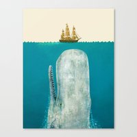 shower Canvas Prints featuring The Whale - colour option by Terry Fan