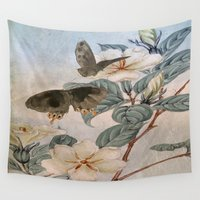 jasmine Wall Tapestries featuring Jasmine And Butterflies by ALLY COXON