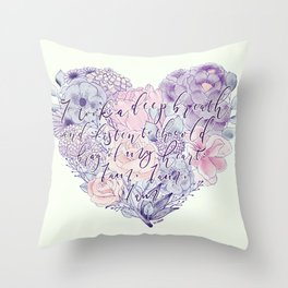 flower heart . sylvia plath quote . the bell jar Throw Pillow