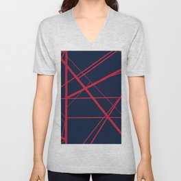 Crossroads - Navy and Red Unisex V-Neck