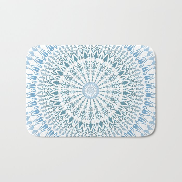 Blue White Geometric Mandala Bath Mat