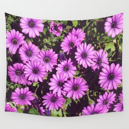 Be Happy with Spring Meadow and Purple Daisies Wall Tapestry