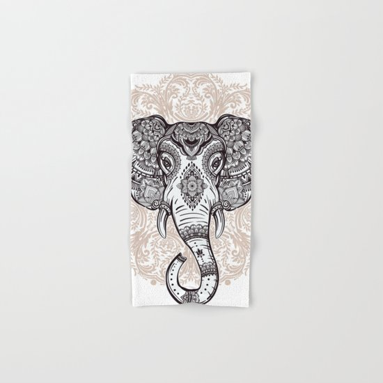 Elephant on Mandala Hand & Bath Towel