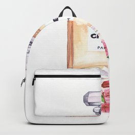 Watercolor Perfume Bottle With Cherry Blossoms Print Backpack