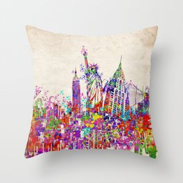 New York skyline colorful collage Throw Pillow