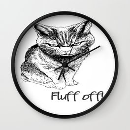 Fluff Off Angry Cat Wall Clock