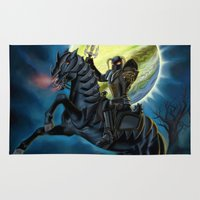 heavy metal Area & Throw Rugs featuring Heavy Metal Knights by Sandra Chang-Adair