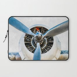 Legendary Vintage Aircraft Engine And Propeller On White Laptop Sleeve