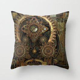 Rusty Vintage Steampunk Gears Throw Pillow