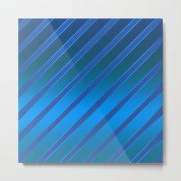 Oblique blue stripes on a blue satin background . Metal Print
