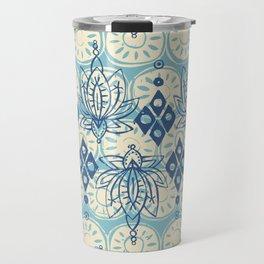 lotus diamond blue Travel Mug
