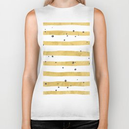 Modern hand painted yellow gold black watercolor splatters stripes Biker Tank
