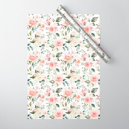 Sunny Floral Pastel Pink Watercolor Flower Pattern Wrapping Paper