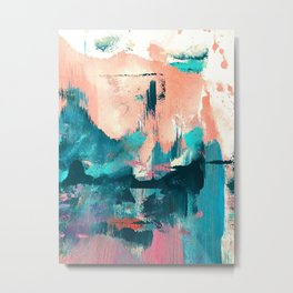 Sugar: a fun, minimal mixed-media abstract piece in pinks and blues Metal Print