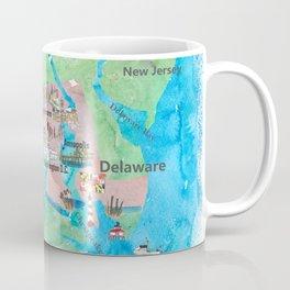 USA Maryland State Travel Poster Map with Touristic Highlights Coffee Mug