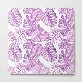 Purple violet pink watercolor tropical monster leaves Metal Print