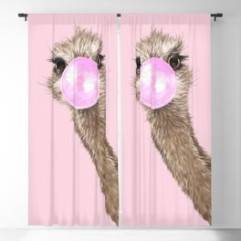 Sneaky Ostrich with Bubble Gum in Pink Blackout Curtain