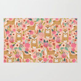 Shiba Inu floral dog must have gifts for shiba lovers florals dog breed Rug