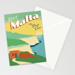 Vintage-Inspired Travel Poster - Malta Stationery Cards