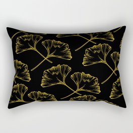 Gold on Black Ginkgo Rectangular Pillow