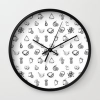 fruits Wall Clocks featuring Fruits by Tyhe Reading