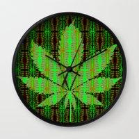 marijuana Wall Clocks featuring Marijuana Leaf by Trusty Russ Tees