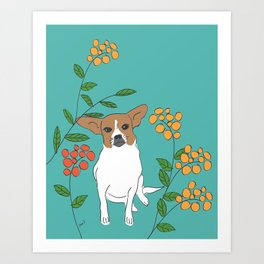 Dog in a flower garden Art Print
