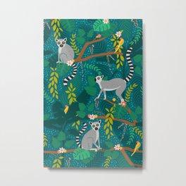 Lemurs in Teal Jungle Metal Print