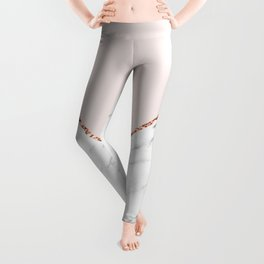 Peony blush geometric marble Leggings