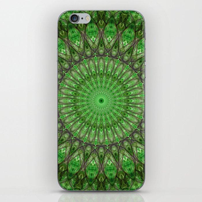 Bright green and brown mandala iPhone Skin