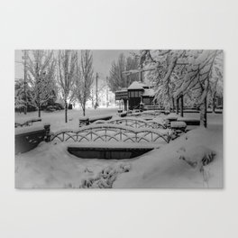 Snowy night in a little town. Canvas Print