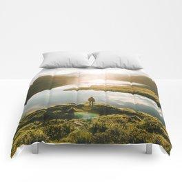 Switzerland Mountain Lake Sunrise - Landscape Photography Comforters