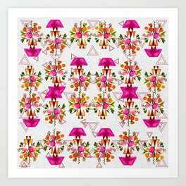 Watercolor Floral & Triangle Pattern Home Goods Design Art Print