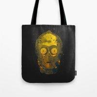c3po Tote Bags featuring C3PO Splash by Sitchko Igor