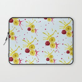 blue watercolor pattern with pink and yellow bouquets Laptop Sleeve