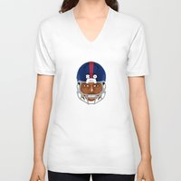 giants V-neck T-shirts featuring Faces-Giants by IllSports
