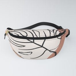 Abstract Monstera Line Art Fanny Pack