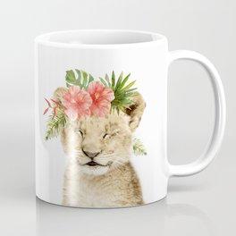 Baby Lion Cub with Flower Crown Coffee Mug