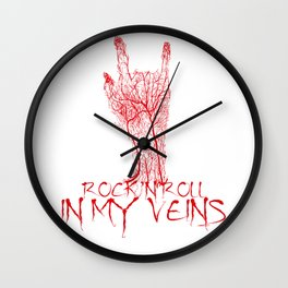 Rock and Roll in my veins Wall Clock