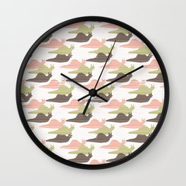 Pink and Green Snail Race Silhouette Seamless Wall Clock