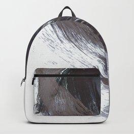 Dark Indigo Blue and Grey Gestural Abstract Brushstroke Painting Backpack