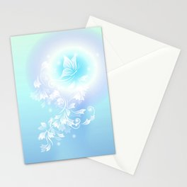Floral Turquoise Butterfly Fantasy Stationery Cards