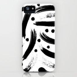 Black & White Paint Strokes Pattern iPhone Case