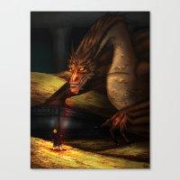 smaug Canvas Prints featuring Smaug by wolfanita