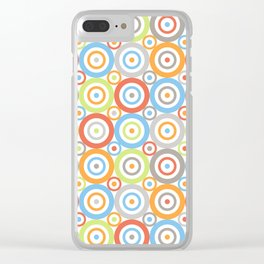 Abstract Circles Pattern Color Mix & Greys Clear iPhone Case