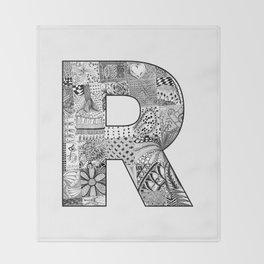 Cutout Letter R Throw Blanket